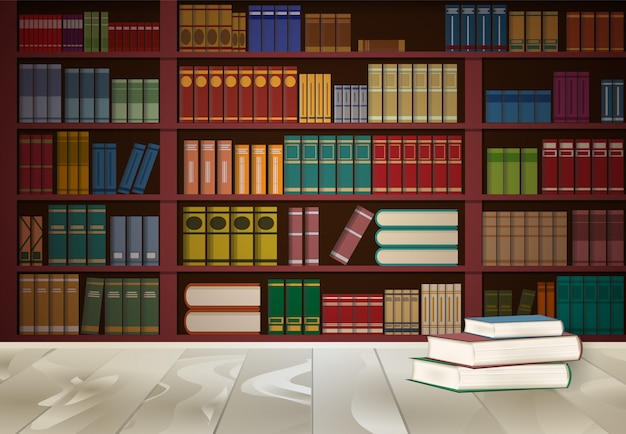 Книжная полка в библиотеке и книга на деревянный стол