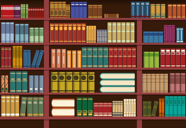 Bookshelf in library, knowledge illustration