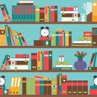 Книжная полка с книгами в плоском стиле