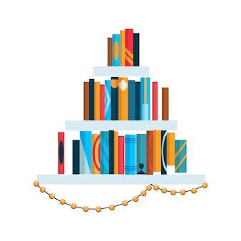 다채로운 책이 있는 책장. 학교 및 교육 연구 벽 개념으로 돌아갑니다. 라이브러리 내부 요소입니다. 플랫 읽기 책 그림