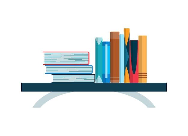 다채로운 책과 책장. 평면 독서 책 그림 흰색 배경에 고립