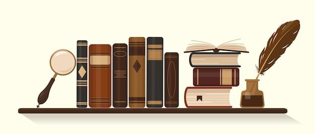 거위 깃털과 돋보기가있는 오래되거나 역사적인 갈색 책 잉크 병이있는 책장