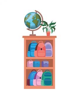 Bookshelf with school books