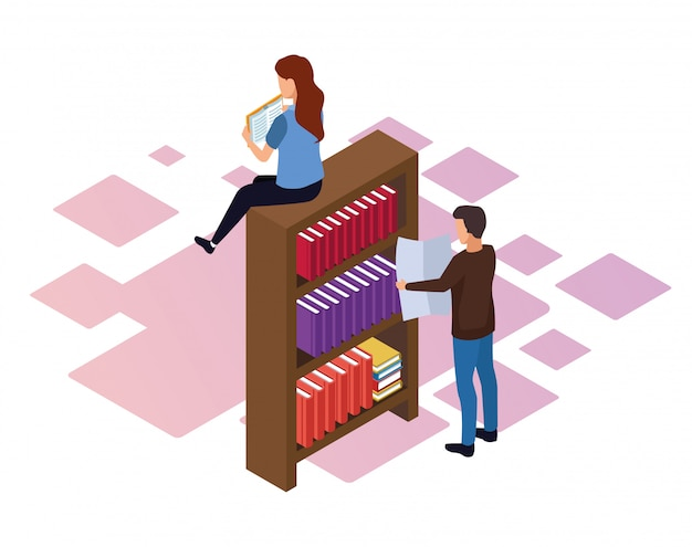 Bookshelf with woman and man around over white background, colorful isometric