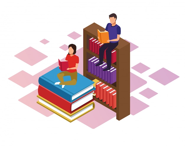 Bookshelf and woman and man reading books over white background, colorful isometric