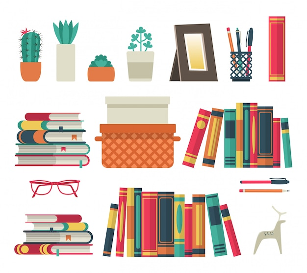 本棚セット。部屋の図書館で平らな棚の本、読書オフィスシェルフ壁インテリア研究学校分離コレクション