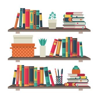 本棚。部屋の図書館の棚の本、読書オフィスの棚の壁のインテリア研究学校の本棚の背景