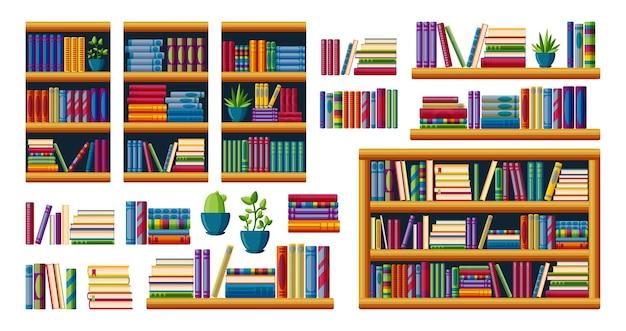 베스트셀러가 있는 책장. 선반, 선반 및 케이스가 있는 책 더미