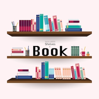 Bookshelves with colorful books and stationery on pink wall