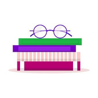 좋아하는 책, 사무용 식물, 안경이 있는 책장. 현대 북 클럽 로고. 프리미엄 벡터