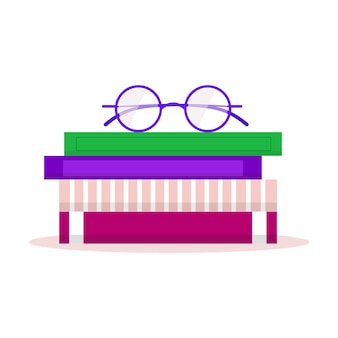 Bookshelves with favorite books, office plant, and glasses. modern book club logo.