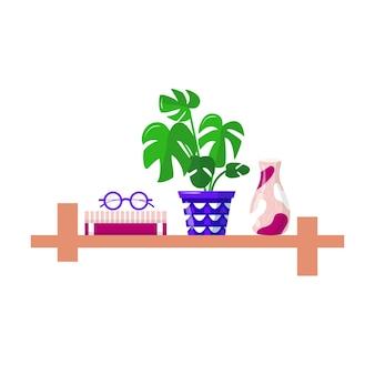 Книжные полки с любимыми книгами, офисными растениями, вазами и очками. книга полки в изолированной библиотеке комнаты, чтение книги для дома. современные плоские интерьерные иллюстрации вектор