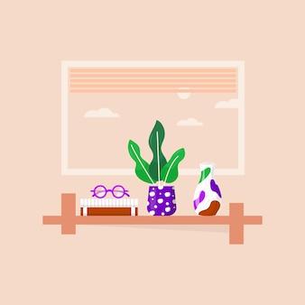 お気に入りの本、事務用植物、花瓶、メガネが入った本棚。部屋の図書館の棚の本、教育のための職場のある家庭用の本を読んでいます。ベクトルモダンなフラットインテリアイラスト