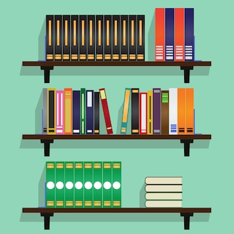 Bookshelves with Row Of Books Vector Illustration