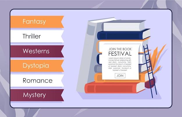 Bookshop online app mockup invite to bookfest