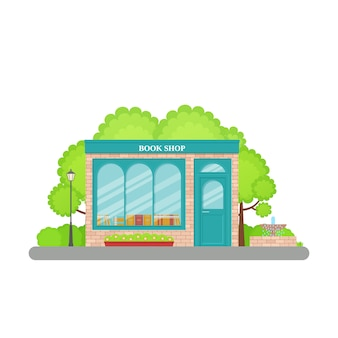 Bookstore front. . bookshop facade, storefront. cartoon store front. retail book shop building with window in flat . exterior library house. street architecture. illustration.