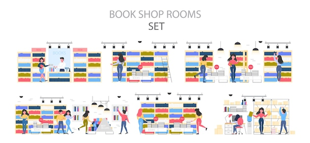 Bookstore interior set. people choosing and buying literature. shelves with books.   illustration.