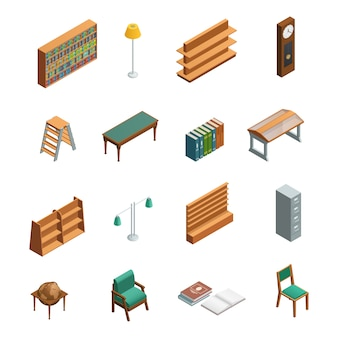 Bookstore and library isometric interior elements set