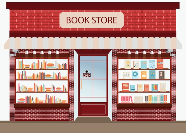 Bookstore with bookshelves, vector illustration.