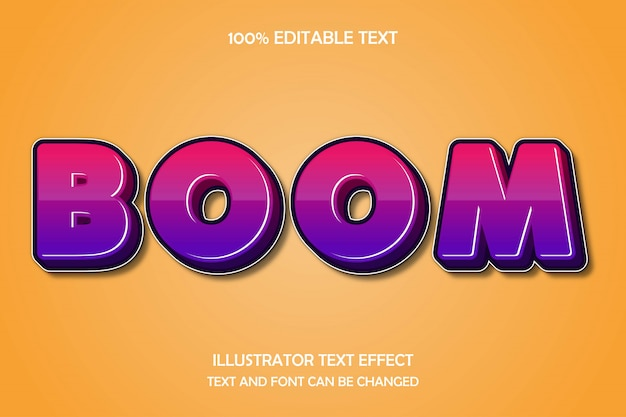 Boom,3d editable text effect modern shadow style
