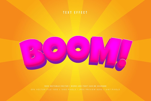 Boom! 3d text effect on orange