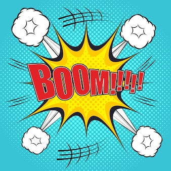 Boom comic bubble text in pop art style with exploding clouds and halftone