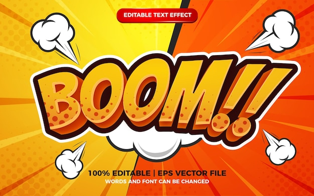 Boom comic cartoon text effect on halftone comic background