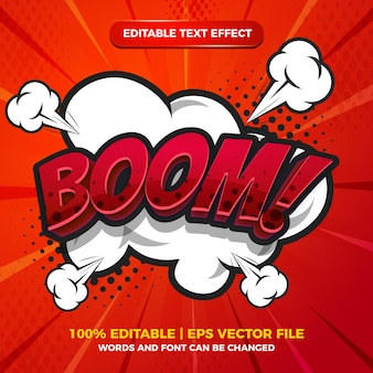 Boom comic cartoon text effect with speech bubble on halftone comic background