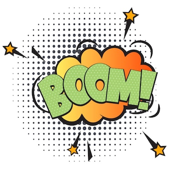 Boom comic speech bubble in pop art style