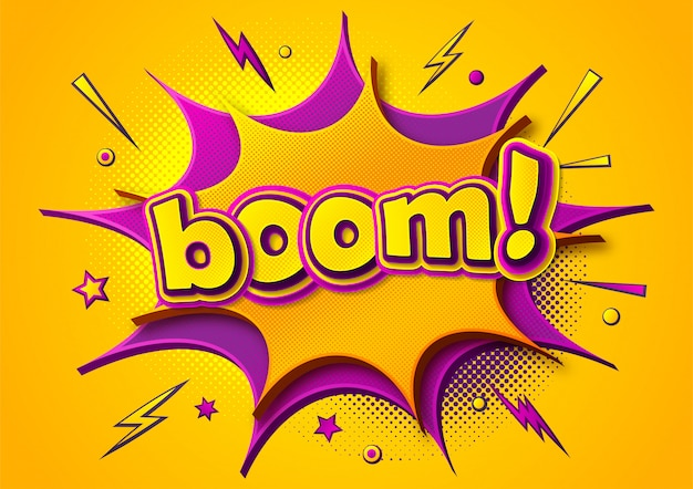 Boom comics poster. cartoonish thought bubbles and sound effects. yellow-purple banner in pop art style