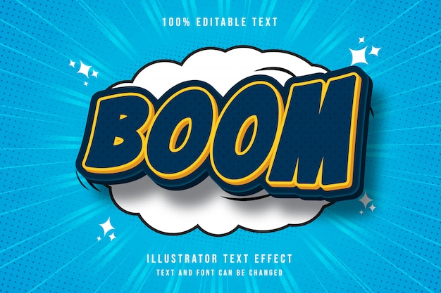 Boom, editable text effect blue gradation yellow modern shadow comic style