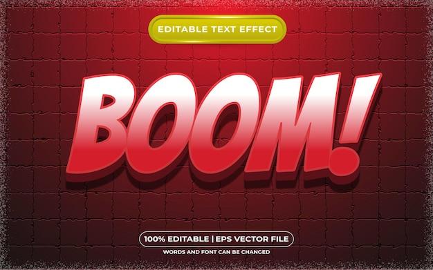 Редактируемый текстовый эффект boom, мультяшный и игровой стиль