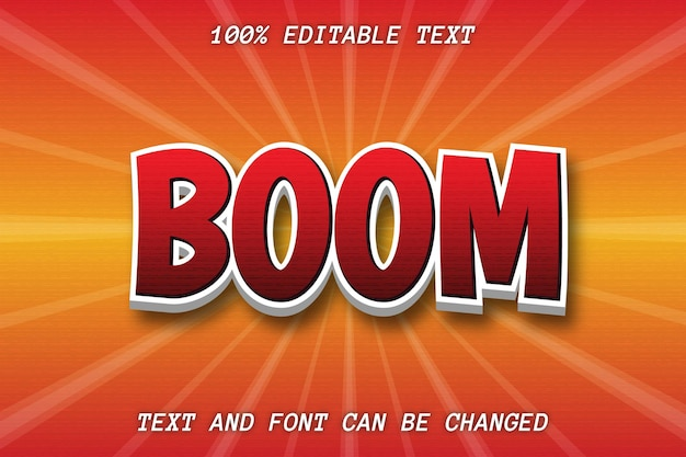 Boom editable text effect comic style