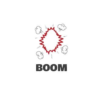 Концепция графического дизайна логотипа boom. редактируемый элемент стрелы, может использоваться как логотип, значок, шаблон в интернете и для печати