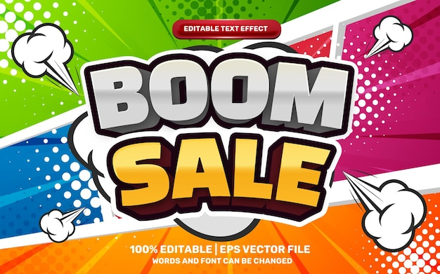 Boom sale editable text effect cartoon on colorfull halftone comic background