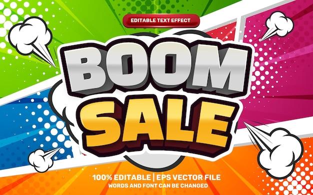 Бум распродажа редактируемый текстовый эффект мультфильма на красочном полутоновом фоне комиксов