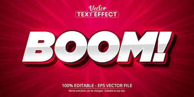 Boom text, cartoon style editable text effect