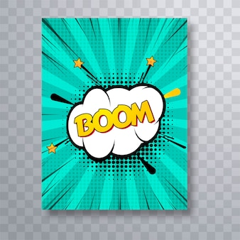 Boom text comic book colorful pop art brochure