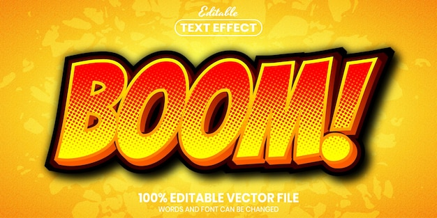 Boom text, font style editable text effect Premium Vector