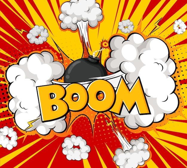 Boom wording comic speech bubble on burst Free Vector