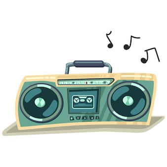 Boombox cassette stereo recorder  cartoon retro illustration isolated on white background.