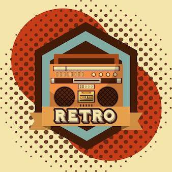 Boombox radio cassette retro vintage halftone background