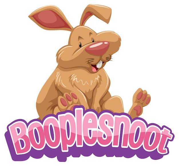 かわいいウサギの漫画のキャラクターとbooplesnootフォントデザイン