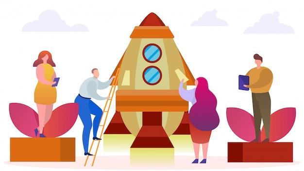ブーストビジネスの人々はロケットイラストの近くに立ちます。