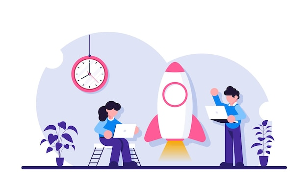 Boost business. startup illustration. people with laptops stand near the rocket.