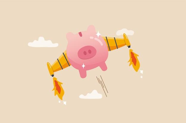 Увеличивайте финансовую прибыль или доход, быстро разбогатейте или быстрорастите инвестиции, возможности для бизнеса или концепция повышения зарплаты, розовая копилка с ракетным крылом-ускорителем, быстро летящим высоко в небе.