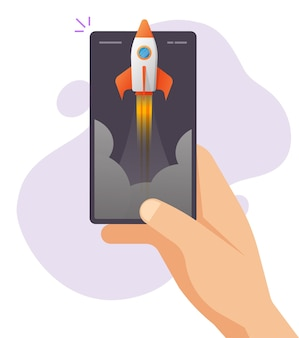 Boost online app strategy on mobile phone smartphone as rocket launch event