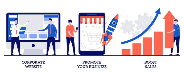Boost sales concept with tiny people illustration