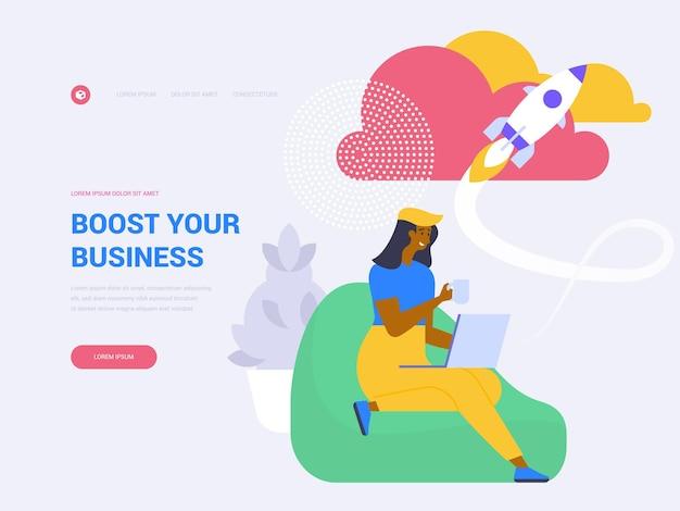 あなたのビジネスのランディングページのベクトルテンプレートを後押しします。フラットなイラストで利益のウェブサイトのホームページのインターフェイスのアイデアを増やします。スタートアッププロジェクトの立ち上げ、成功したイノベーションのウェブバナー漫画のコンセプト