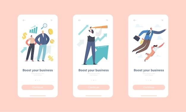 비즈니스 모바일 앱 페이지 온보드 화면 템플릿을 향상하십시오. 제트 팩으로 비행하는 기업인 캐릭터, 망원경을 보다